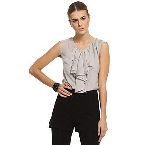 Silk & Cashmere Fırfırlı Gri İpek Bluz