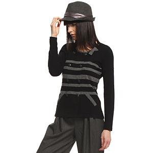 Silk & Cashmere Gri Çizgili Siyah Kaşmir Hırka