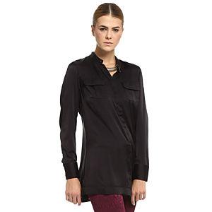 Silk & Cashmere Siyah İpek Gömlek
