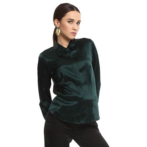 Silk & Cashmere Yeşil İpek Gömlek