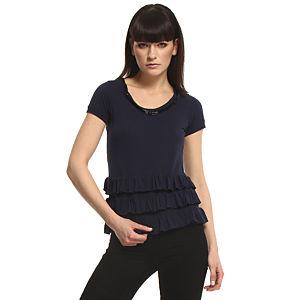 Vera Wang Lavender Label Fırfırlı Lacivert Bluz