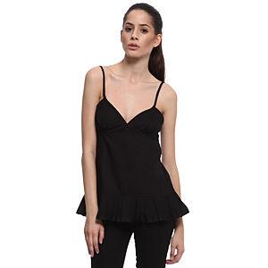 Vera Wang Lavender Label Fırfırlı Siyah İpek Bluz