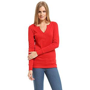 Benetton V Yaka Uzun Kollu Kırmızı Tişört