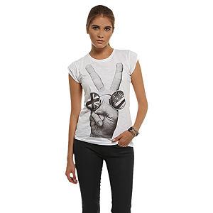 Happiness is a $10 Tee Barış Simgeli Beyaz Tişört