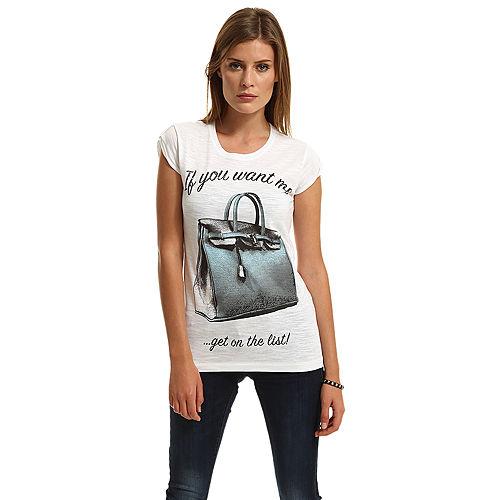 Happiness is a $10 Tee Çanta Baskılı Beyaz Tişört