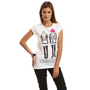 Happiness is a $10 Tee Kız Baskılı Beyaz Tişört