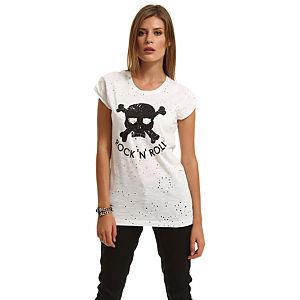 Happiness is a $10 Tee Kuru Kafa Baskılı Beyaz Tişört