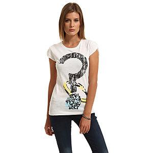 Happiness is a $10 Tee Pırlanta Yüzük Baskılı Beyaz Tişört