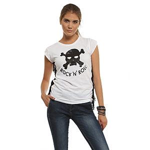 Happiness is a $10 Tee Püsküllü/Kuru Kafa Baskılı Beyaz Tişört