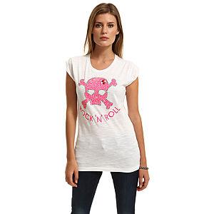 Happiness is a $10 Tee Taşlı Kuru Kafalı Beyaz Tişört