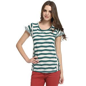 Koton Yeşil/Beyaz Çizgili Tişört