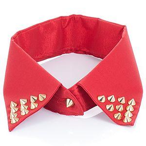Begart    Kırmızı Altın Rengi Zımbalı Yaka