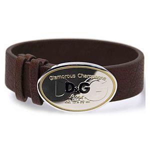 Dolce & Gabbana    Oval Plakalı Deri Bileklik