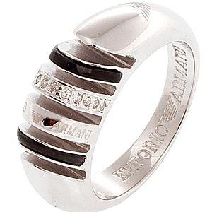 Emporio Armani    Gümüş Siyah Renk Taşlı Yüzük