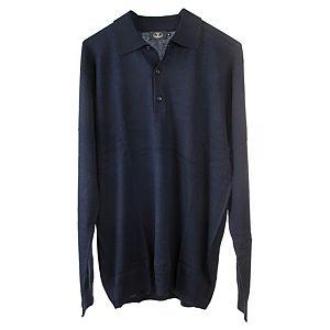 Silk & Cashmere    Lacivert Polo Yaka Kazak