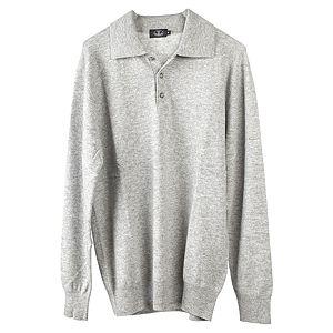Silk & Cashmere    Polo Yala Gri Melanj Kazak