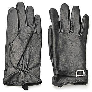 Silk & Cashmere    Tokalı Siyah Deri Eldiven