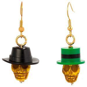 Derya's Winter Shop    Şapkalı Sarı Kuru Kafa Küpe