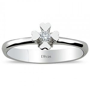Divas Diamond    0,07 ct Pırlanta Tektaş Beyaz Altın Yüzük