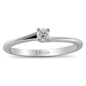 Divas Diamond    0,09 ct Pırlanta Tektaş Gümüş Yüzük