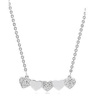 Lori Design    Beyaz Altın Sıra Kalp Kolye