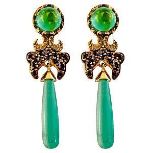 Myras    İmparatorluk Kadınları Yeşil Taşlı Küpe