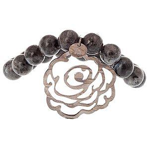 B bangle by Banu Muller    Gri Taşlı Oksit Gümüş Gül Bileklik