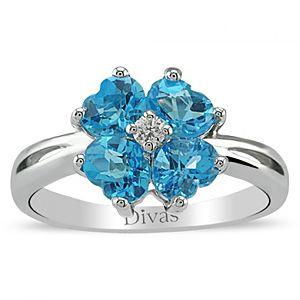 Divas Diamond    0,05 ct Pırlanta Blue Topaz Yüzük
