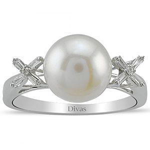 Divas Diamond    0,11 ct Pırlanta İnci Yüzük