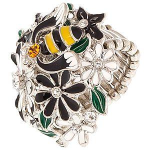 Essera    Gümüş Rengi Çiçek ve Arı Yüzük