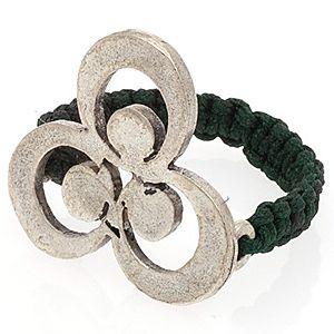 Herşey aşk'tan    Gümüş Kaplama Çintemani Yeşil Örgü Yüzük