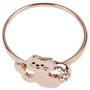 Next Accessory    Rose Renkli Taşlı Kedi Yüzük