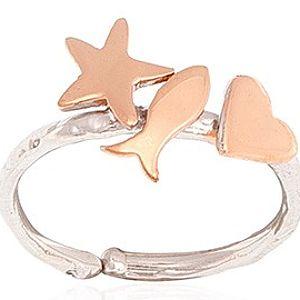 Besign Jewellery    Kalp Yıldız ve Balık Yüzük