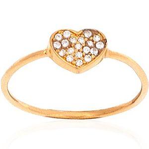Biella    Altın Kaplama Taşlı Kalp Yüzük