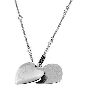 Cerruti    Gümüş Renkli Çift Kalpli Kolye