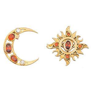 Alaz By Çağrı Kazancı    Altın Kaplama Ay Güneş Küpe