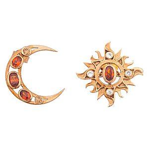 Alaz By Çağrı Kazancı    Pembe Altın Kaplama Ay Güneş Küpe