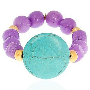 Crysellas    Purple Turkuaz Taşlı Bileklik