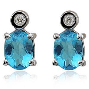 Divas Diamond    Pırlanta Blue Topaz Küpe
