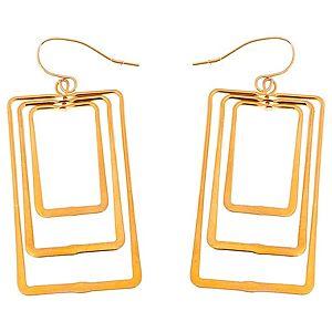 Lin Jewelry    İç İçe Dikdörtgen Küpe