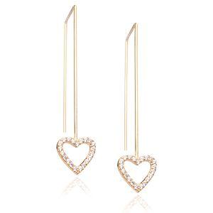Lin Jewelry    Sallantılı Taşlı Kalp Küpe