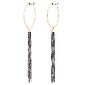 Lin Jewelry    Siyah Zincirli Halka Küpe
