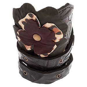 34 VK Design    Flower Power Deri Bileklik Siyah