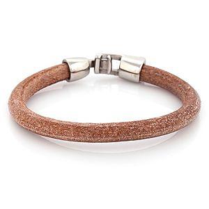 Iron Leather    Kahverengi İnce Çelik Deri Bileklik