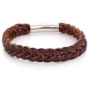 Iron Leather    Kahverengi Örmeli Çelik Deri Bileklik
