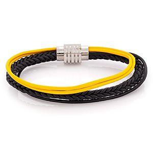 Iron Leather    Siyah ve Sarı Kordonlu Çelik Deri Bileklik
