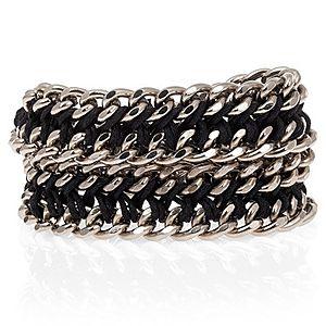 Chain Reaction    Siyah Chain Braid XL Metalik Bileklik ve Kolye
