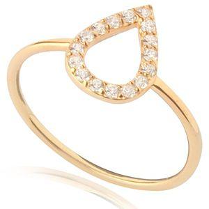 Lin Jewelry    Ortası Boş Damla Yüzük