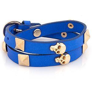 Mynita    Saks Mavi Altın Kaplama Monkey Skull Bileklik