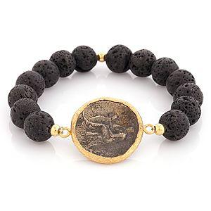 Ali Güleç    Siyah Taşlı Antik Figürlü Para Bileklik
